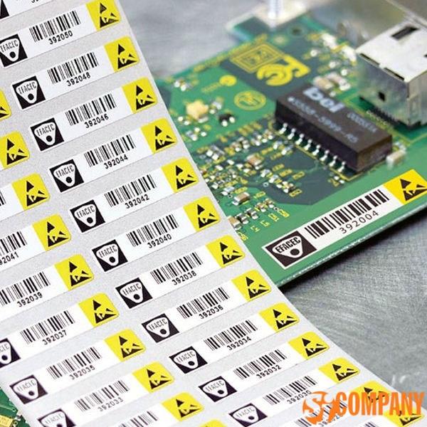 пример  этикетки для защиты и идентификации печатных плат
