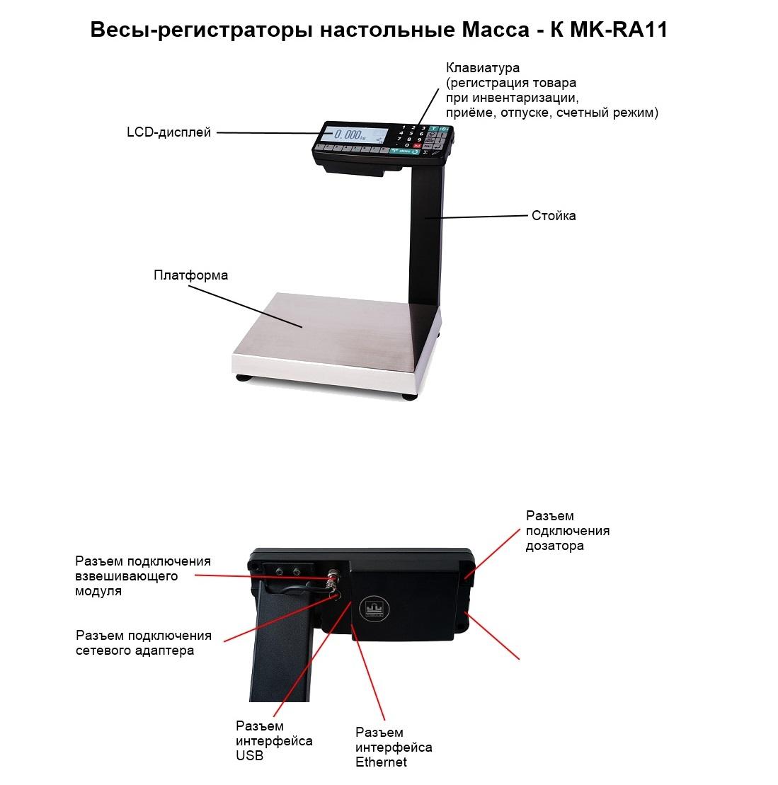 Настольные весы регистраторы Масса-К MK-RA11