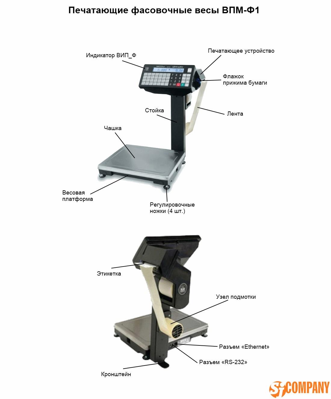 Печатающие фасовочные весы ВПМ-Ф1